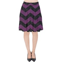 Chevron3 Black Marble & Purple Leather Velvet High Waist Skirt