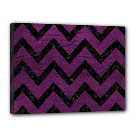 Chevron9 Black Marble & Purple Leather Canvas 16  X 12  by trendistuff