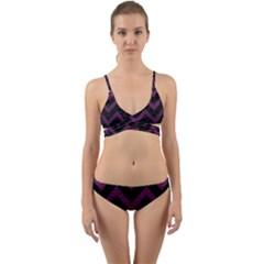 Chevron9 Black Marble & Purple Leather (r) Wrap Around Bikini Set