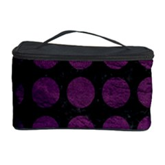 Circles1 Black Marble & Purple Leather (r) Cosmetic Storage Case by trendistuff