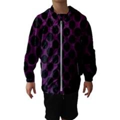 Circles2 Black Marble & Purple Leather Hooded Wind Breaker (kids) by trendistuff