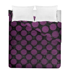 Circles2 Black Marble & Purple Leather (r) Duvet Cover Double Side (full/ Double Size) by trendistuff