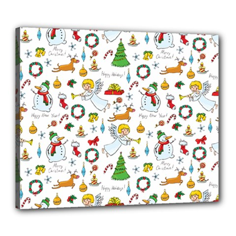 Christmas Pattern Canvas 24  X 20  by Valentinaart