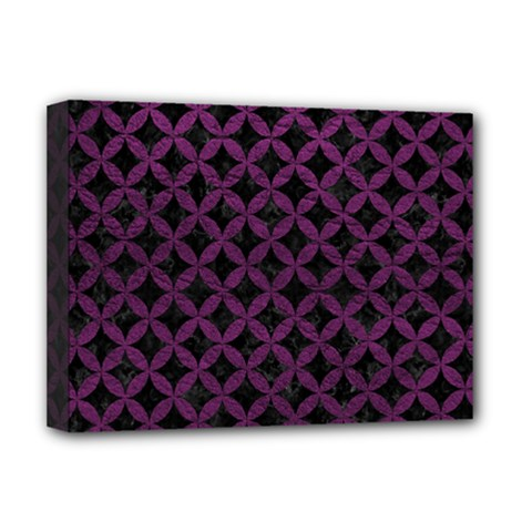 Circles3 Black Marble & Purple Leather (r) Deluxe Canvas 16  X 12   by trendistuff