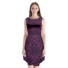 Damask1 Black Marble & Purple Leather Sleeveless Chiffon Dress   by trendistuff