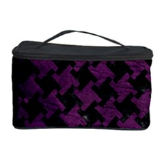 Houndstooth2 Black Marble & Purple Leather Cosmetic Storage Case by trendistuff