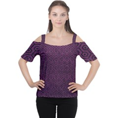 Hexagon1 Black Marble & Purple Leather Cutout Shoulder Tee by trendistuff