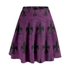 Royal1 Black Marble & Purple Leather (r) High Waist Skirt by trendistuff