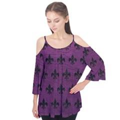 Royal1 Black Marble & Purple Leather (r) Flutter Tees by trendistuff