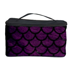 Scales1 Black Marble & Purple Leather Cosmetic Storage Case by trendistuff