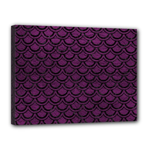Scales2 Black Marble & Purple Leather Canvas 16  X 12  by trendistuff