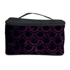 Scales2 Black Marble & Purple Leather (r) Cosmetic Storage Case by trendistuff