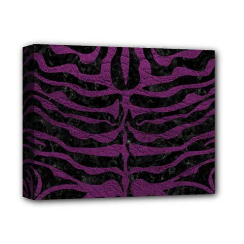 Skin2 Black Marble & Purple Leather (r) Deluxe Canvas 14  X 11  by trendistuff