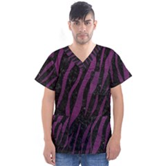 Skin3 Black Marble & Purple Leather (r) Men s V Neck Scrub Top by trendistuff
