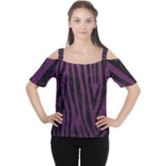 Skin4 Black Marble & Purple Leather (r) Cutout Shoulder Tee by trendistuff