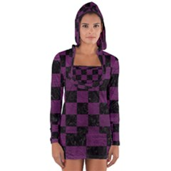 Square1 Black Marble & Purple Leather Long Sleeve Hooded T Shirt by trendistuff