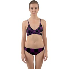 Square1 Black Marble & Purple Leather Wrap Around Bikini Set