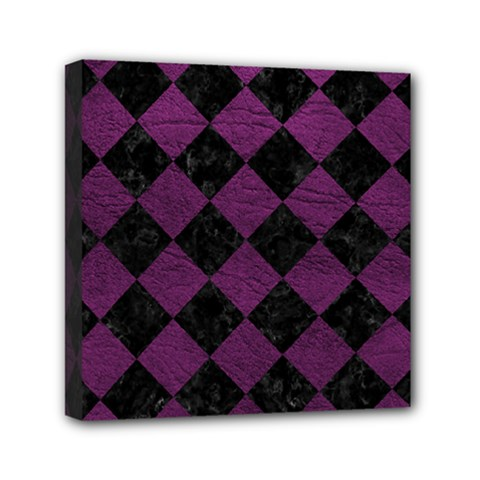 Square2 Black Marble & Purple Leather Mini Canvas 6  X 6  by trendistuff