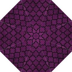 Tile1 Black Marble & Purple Leather Golf Umbrellas by trendistuff