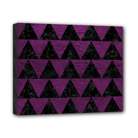 Triangle2 Black Marble & Purple Leather Canvas 10  X 8  by trendistuff