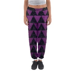 Triangle2 Black Marble & Purple Leather Women s Jogger Sweatpants by trendistuff
