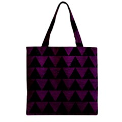 Triangle2 Black Marble & Purple Leather Zipper Grocery Tote Bag by trendistuff