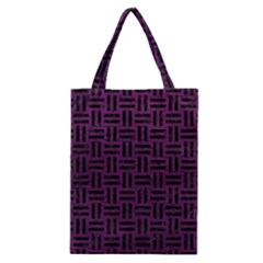 Woven1 Black Marble & Purple Leather Classic Tote Bag by trendistuff