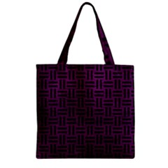 Woven1 Black Marble & Purple Leather Zipper Grocery Tote Bag by trendistuff