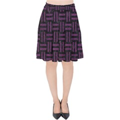 Woven1 Black Marble & Purple Leather (r) Velvet High Waist Skirt