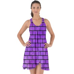 Brick1 Black Marble & Purple Watercolor Show Some Back Chiffon Dress by trendistuff