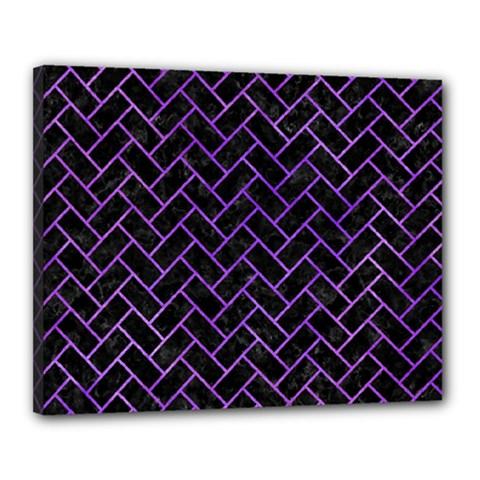 Brick2 Black Marble & Purple Watercolor (r) Canvas 20  X 16  by trendistuff