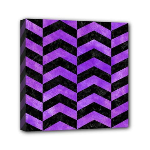Chevron2 Black Marble & Purple Watercolor Mini Canvas 6  X 6  by trendistuff