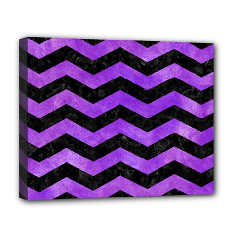 Chevron3 Black Marble & Purple Watercolor Deluxe Canvas 20  X 16   by trendistuff