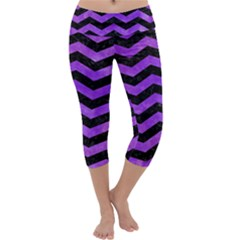Chevron3 Black Marble & Purple Watercolor Capri Yoga Leggings by trendistuff