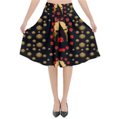 Pumkin Witch In Candles And White Magic Flared Midi Skirt by pepitasart