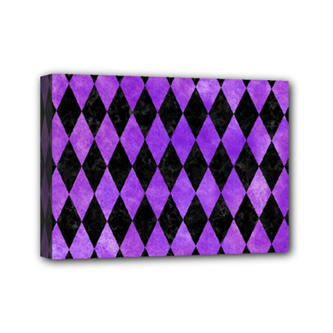 Diamond1 Black Marble & Purple Watercolor Mini Canvas 7  X 5  by trendistuff