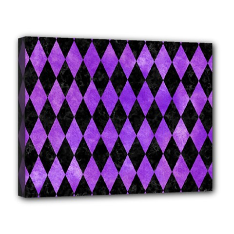 Diamond1 Black Marble & Purple Watercolor Canvas 14  X 11  by trendistuff