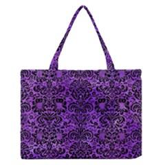 Damask2 Black Marble & Purple Watercolor Zipper Medium Tote Bag by trendistuff