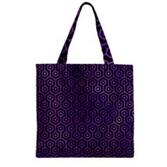 Hexagon1 Black Marble & Purple Watercolor (r) Zipper Grocery Tote Bag by trendistuff