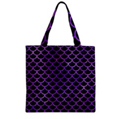 Scales1 Black Marble & Purple Watercolor (r) Zipper Grocery Tote Bag by trendistuff