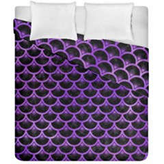 Scales3 Black Marble & Purple Watercolor (r) Duvet Cover Double Side (california King Size) by trendistuff