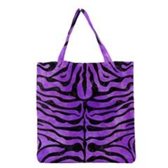 Skin2 Black Marble & Purple Watercolor Grocery Tote Bag by trendistuff