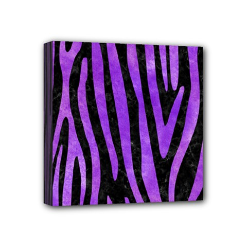 Skin4 Black Marble & Purple Watercolor Mini Canvas 4  X 4  by trendistuff