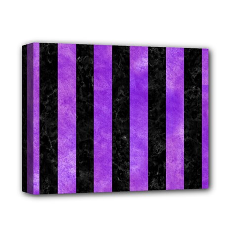 Stripes1 Black Marble & Purple Watercolor Deluxe Canvas 14  X 11  by trendistuff