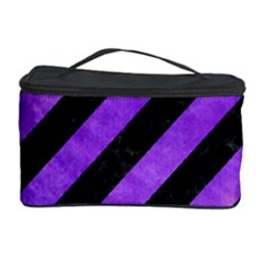 Stripes3 Black Marble & Purple Watercolor (r) Cosmetic Storage Case by trendistuff