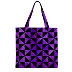Triangle1 Black Marble & Purple Watercolor Zipper Grocery Tote Bag by trendistuff