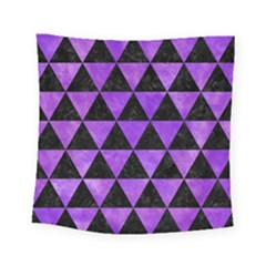 Triangle3 Black Marble & Purple Watercolor Square Tapestry (small) by trendistuff