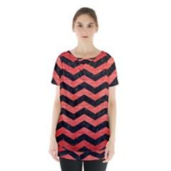 Chevron3 Black Marble & Red Brushed Metal Skirt Hem Sports Top by trendistuff