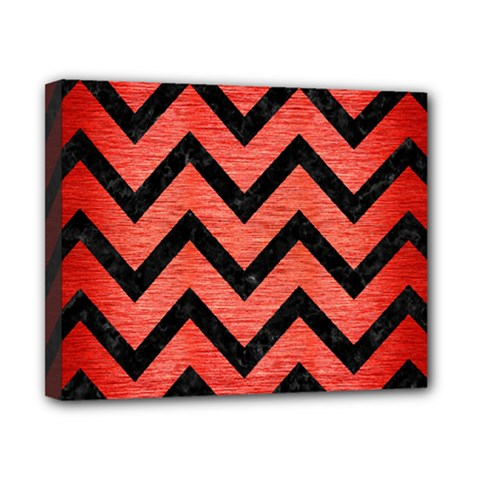 Chevron9 Black Marble & Red Brushed Metal Canvas 10  X 8  by trendistuff