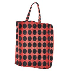 Circles1 Black Marble & Red Brushed Metal Giant Grocery Zipper Tote by trendistuff